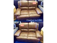 Brand New Chestnut Leather Sofas - 3+2 Seater