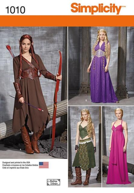SIMPLICITY SEWING PATTERN MISSES' MEDIEVAL FANTASY  COSTUME SIZE 6 - 22 1010