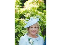 Sophisticated headpiece in ice cool blue with pearl detail made to match occasion outfit.