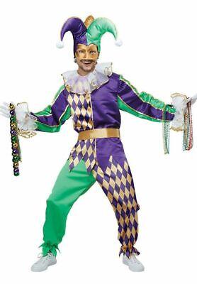 Mardi Gras Court Jester Joker Carnival Adult Men's Harlequin Costume M-L-XL New (Mardi Gras Harlequin Costume)