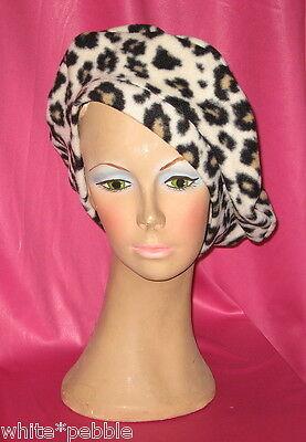 Fleece Leopard Hat (Handmade Beret - Fleece - Leopard Print - One size fits most )