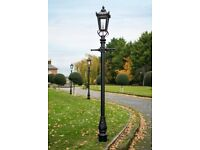 2.7m Tall Black Victorian Style Cast Iron Garden Lamp Post