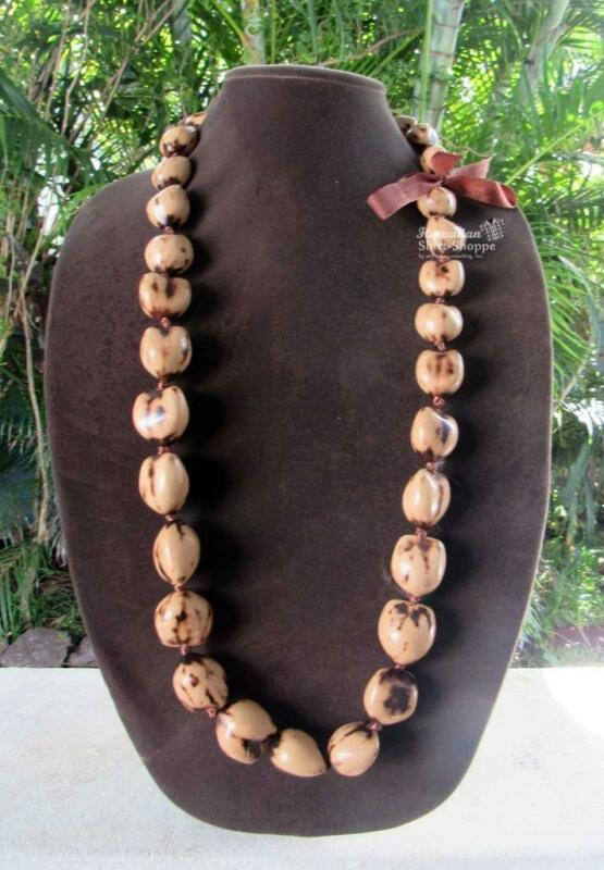 NEW Natural Blonde Authentic Kukui Nut Lei Necklace Luau Hula Wedding Graduation