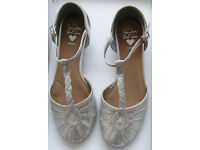 Girls Silver Shoes by Next and Bluezoo, sizes 2 and 3.