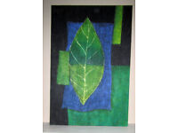 Picture painting oil on canvas stretched on frame Leaf and Shapes 3ft x 2ft unknown artist