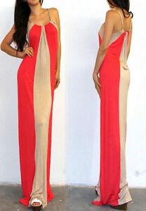 NewUSA-Womens-Orange-Taupe-Colorblock-Stripes-Mock-Long-Maxi-Summer-Dress-S-M-L