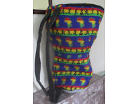 Large 16 Inch Head Djembe Drum Bag African Rasta Fabric Padded Backpack Style New