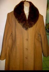 "NEW 3X JESSICA LONG WOOL COAT / $275 SRP / Deadstock / BUTTON-ON FUR COLLAR / 48 50"" / CAMEL BROWN 22 LONG SPRING WINTER"