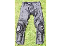 AlpineStars Black Leather Motorbike Trousers