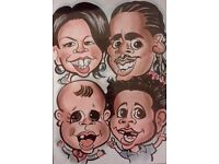 Caricature portraits from £20. Single, family, pets, weddings, parties...