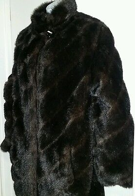 Vintage Norm Thompson SZ Med SWING COAT CHOCOLATE MINK Faux Fur Lined ()