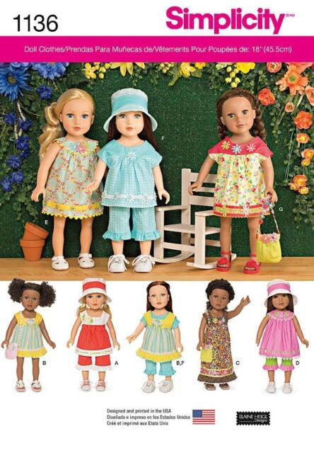 SIMPLICITY SEWING PATTERN EVERYDAY CLOTHES FOR 18 INCH DOLL  1136 A