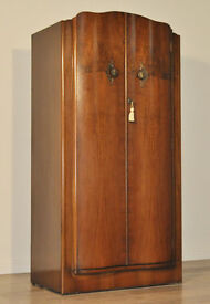 Attractive Neatly Sized Vintage Art Deco Walnut Double Fitted Small Wardrobe