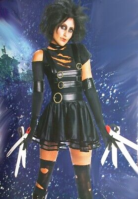 Women MISS SCISSORHANDS Edward Goth Gothic Halloween Purim Costume Black WIG NEW