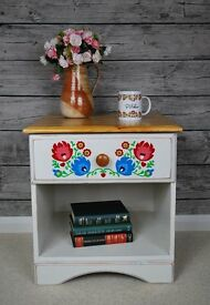 Solid Pine Bedside Cabinet Annie Sloan Hand Painted Flowers Polish Folk