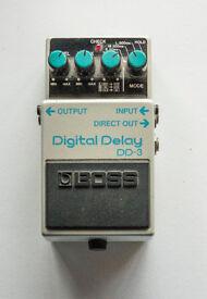Boss Digital Delay DD-3 guitar effects pedal (blue label)