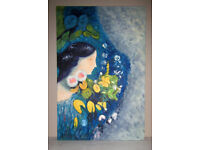Picture painting oil on canvas stretched on frame Lady in Flowers 3ft x 2ft unknown artist