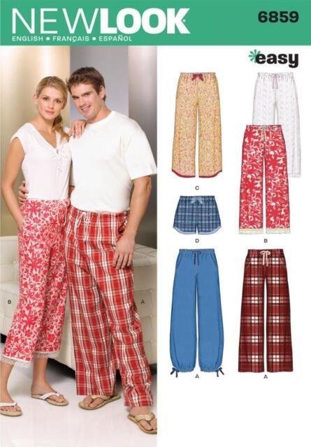 NEW LOOK SEWING PATTERN Misses, Men & Teens Pajama Pants Shorts SIZE XS-XL 6859