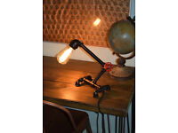 ANTIQUE INDUSTRIAL STEAMPUNK DESK TABLE LAMP RUSTIC IRON PIPE READING LIGHT UK
