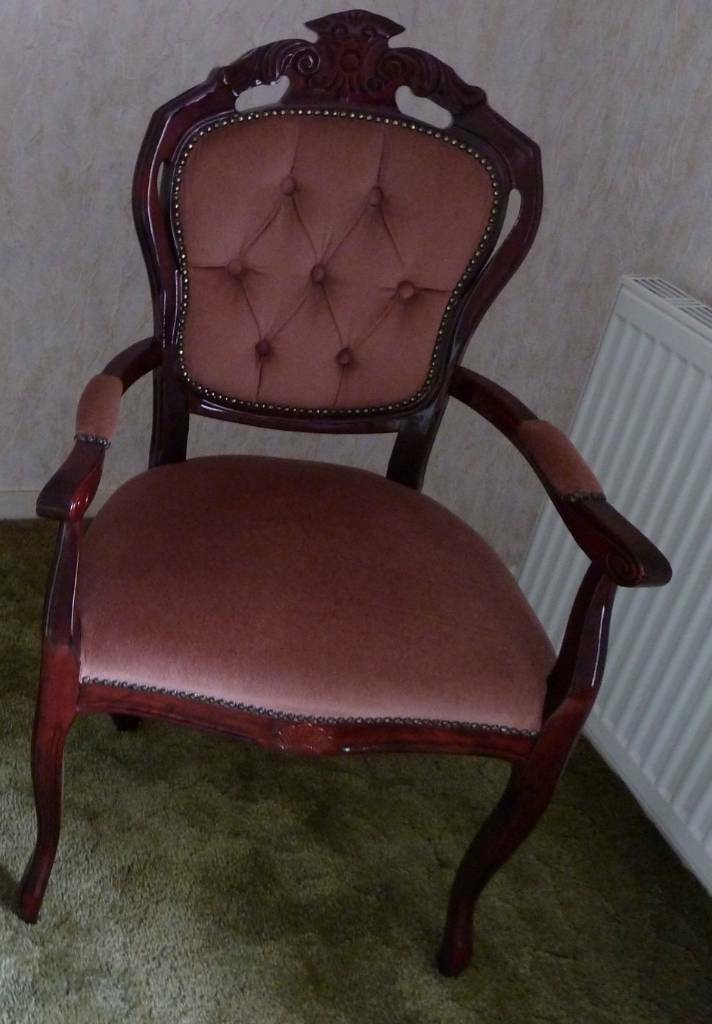 Antique pink carved wooden bedroom chair