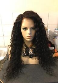 "24"" Malaysian full lace wig, 180% heavy density, deep wave with Pre plucked hairline"