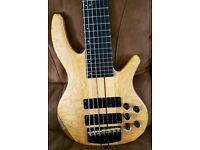 Overwater Progress III 7 string deluxe custom bass with LEDs and Hiscox case.