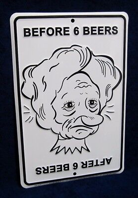 BEFORE & AFTER BEER - *US MADE* Embossed Metal Tin Sign -Man Cave Garage Bar Pub