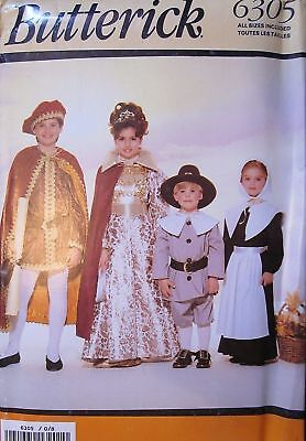 6305 UNCUT Vintage Butterick SEWING Pattern Pilgrim Squire Lady Costumes FF - Squire Costume