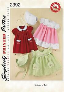 Simplicity 2392 Sewing Pattern Babies 1950's Vintage Dress Layette Set & Bonnet