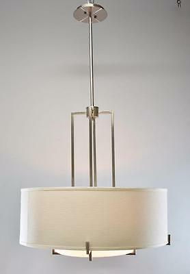 Design Classics Lighting Drum Chandelier Linen Shade Four Sockets Frosted Glass