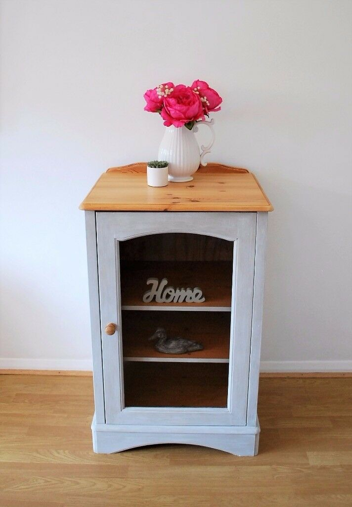 Solid Pine Display Cabinet - Glass Fronted Cabinet - Annie Sloan Country Grey / Waxed