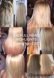 Mobile Hairdresser - Full Head highlights currently £40!!* O.A.P Price-list available.