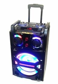 Dj Karaoke Set Bluetooth Portable Speaker Light Top-Panel Controls Mp3 Mic Disco Party Outside Insid