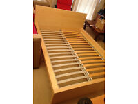 double bed frame Ikea malm with wooden slat