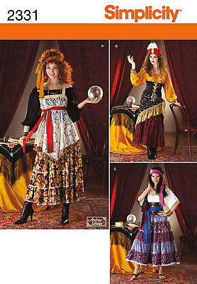 Reduced!  Simplicity 2331 Misses Gypsy Fortune Teller Costume Pattern 6-12 - Plus Size Fortune Teller Gypsy Costume