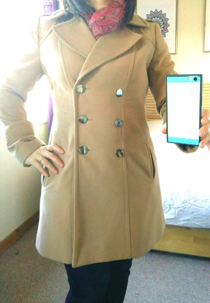 Wallis Womens Military Style Camel Coat UK Size 12