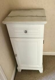 White chrome bathroom cabinet with marble top