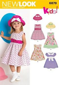 NEW LOOK SEWING PATTERN TODDLER DRESSES DRESS & HAT SIZE 1/2 1 2 3 4   6879