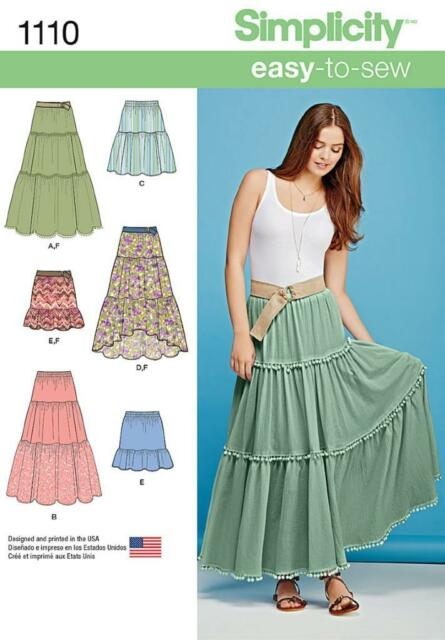 SIMPLICITY SEWING PATTERN MISSES' TIERED SKIRT LENGTH VARS  SIZES XXS - XXL 1110