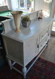 Vintage Oak Sideboard / cupboard / storage pale grey