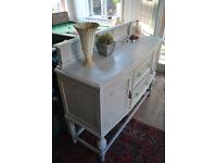 Vintage Oak Sideboard / cupboard / storage pale grey