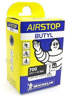 "Michelin Airstop Butyl Bike Tube 700x25-32 (27""x1-1/4"") 40mm Presta Valve 700c"