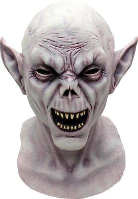 Herren Deluxe Latex Vampir Maske Horror Halloween Nosferatu Kostüm mit Kapuze