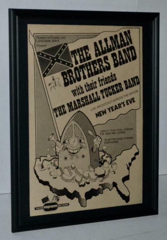 ALLMAN BROTHERS 1974 MARSHALL TUCKER PROMO CONCERT FRAMED POSTER / AD