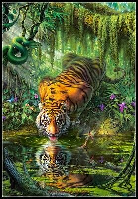 Tiger Cross Stitch Pattern - Tiger in the Jungle - Chart Counted Cross Stitch Pattern Needlework DMC Color