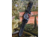 Customised Seiko Diver Automatic Men's SKX009K1 Watch with Black Leather Cuff Strap