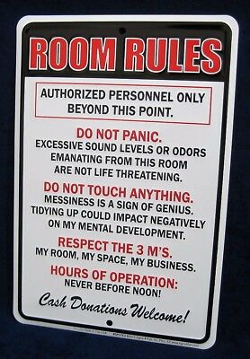 (ROOM RULES -*US MADE* Embossed Sign -Teen Bedroom Man Cave Garage Bar Wall Decor)