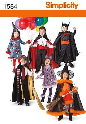 Simplicity Pattern 1584 Halloween Child Costumes Vampire Witch Cat Size 3 to 8 - Cat Halloween Costume Pattern