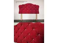 Red Velvet Chenille & Diamante Headboard Double (used as a prop only)