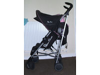 Silver cross black and pink buggy